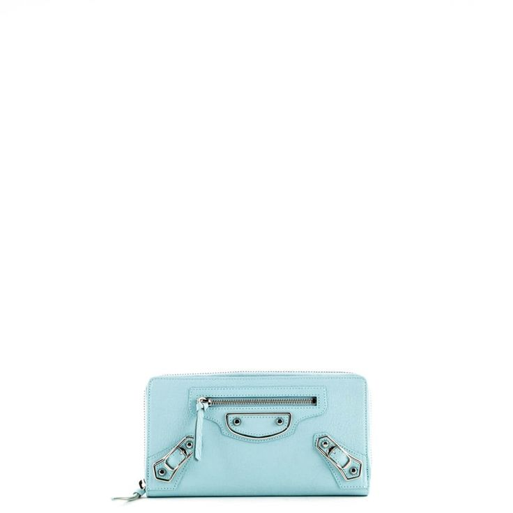 Balenciaga Aqua Metallic Edge Zip-Around Continental Wallet - $525 CAD
