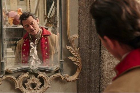 """We get to see a little bit more of Luke Evans as Gaston, doing what Gaston does best: looking at himself in the mirror. 
