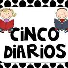 5 wall signs with one heading sign in polka dot decor. 5 rotulos para Cinco Diarios ...Daily 5 signs in  Spanish!