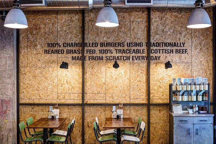A new restaurant situated in the redeveloped Intu shopping centre  in Nottingham developing further ideas on the use of reclaimed materials & industrial themes specific to the brand ethos mixed with ideas on its location and the connection to British  manufacturing specific to the region.