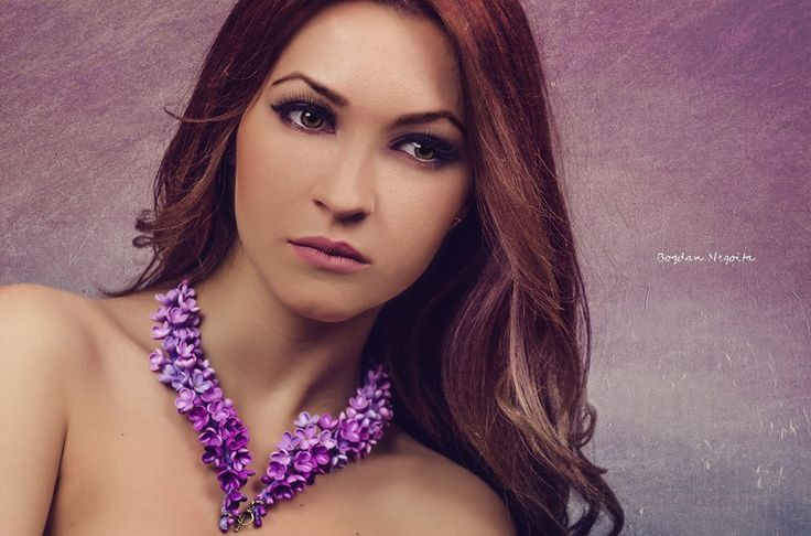 Handmade art jewelry with a bold design. The lilac flowers are thoroughly sculpted from polymer clay and assembled together into a spectacular necklace. By Innette (innette.etsy.com) Photography: Bogdan Negoita