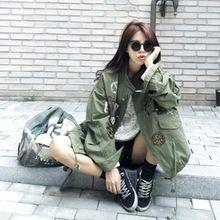 Chaqueta de las mujeres 2016 Nuevo Resorte de la Llegada Mujeres de Impresión Verde Del Ejército Camuflaje Chaqueta Chaquetas Mujer Otoño Cazadoras De Mujeres Abrigo(China (Mainland))