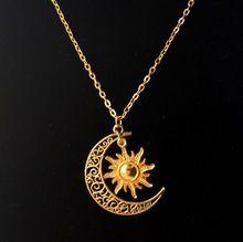 Sol e lua crescente colar charme Boho Hippie colar 50 cm(China (Mainland))