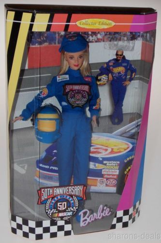 Mattel Barbie Doll 50th Anniversary NASCAR Collector Edition Uniform Stand NIB