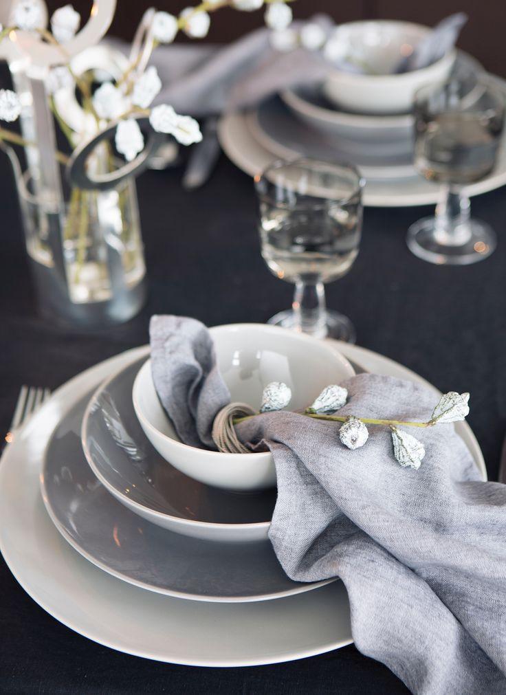 HIMLA Sunset napkin City, Sunshine tablecloth Black, Kerala napkin ring Silver