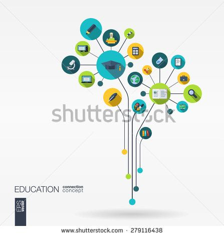 Abstract education background with lines, connected circles and integrated flat icons. Growth flower concept with school, science, geography, biology, microscope icon. Vector interactive illustration.