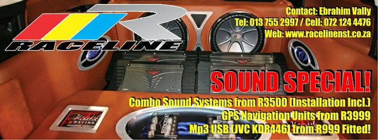 MARCH SPECIALS NOW ON AT RACELINE NELSPRUIT!  Combo sound systems from R 3, 500 including installation.  GPS NAV units from R 3, 999  MP3 USB JVC KDR446 from R 999 Fitted!  Visit our website for more information - http://www.racelinenst.co.za/