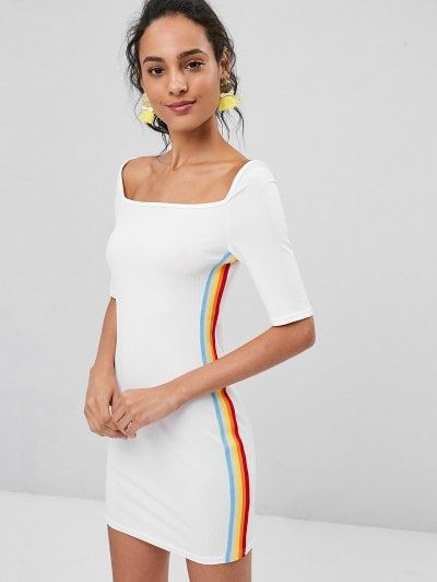 77fa62be352 Stripes Panel Ribbed Bodycon Dress  zaful dresses