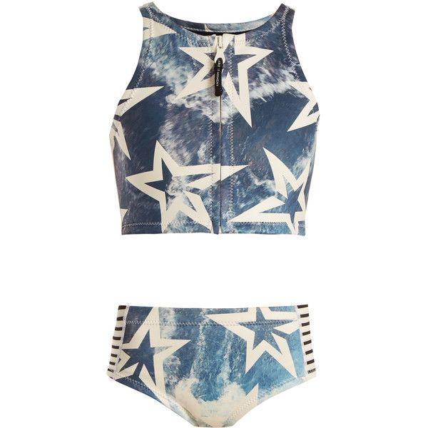 Perfect Moment AOP Neo high-rise bikini ($217) ❤ liked on Polyvore featuring swimwear, bikinis, blue multi, striped bikini, star bikini, zip front bikini, high waisted two piece and blue striped bikini