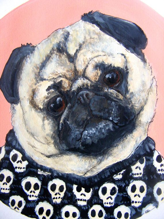 Fawn pug illustration original acrylic painting. by netapuppy