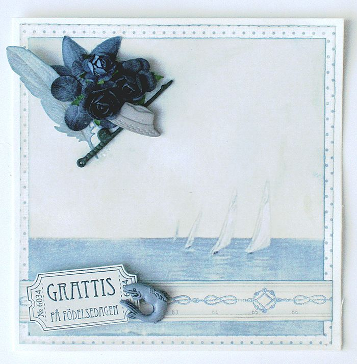 Blue summer card with Pion Design products by Helens Color Life