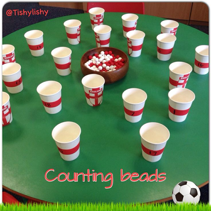 Counting beads into England paper cups.