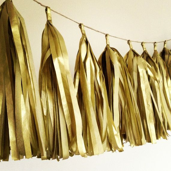 GOLD METALLIC / tissue paper tassel garland / wedding decorations / new years eve decorations / nye / metallic gold theme / fringe banner