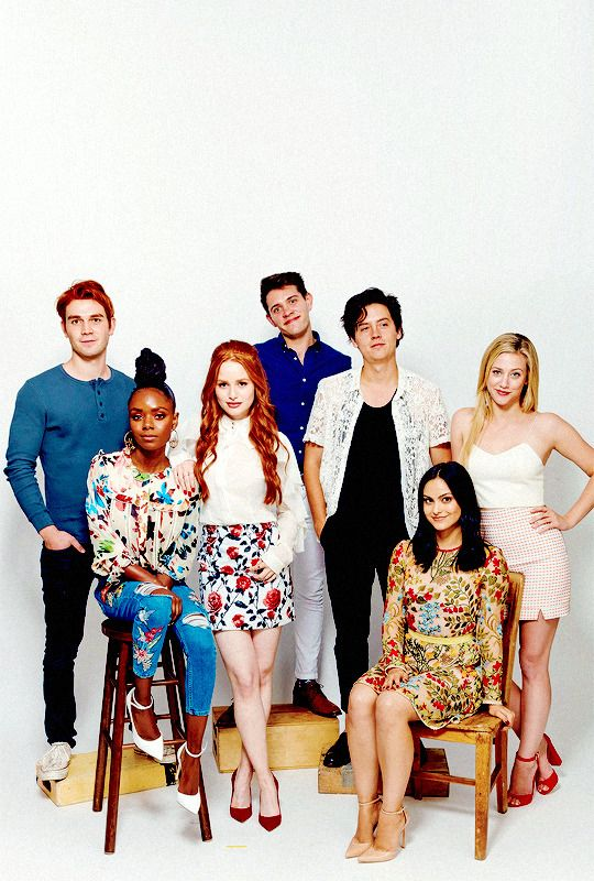 Actor KJ Apa, Ashleigh Murray, Madelaine Petsch, Casey Cott, Cole Sprouse, Camila Mendes, and Lili Reinhart from CW's 'Riverdale' pose for a portrait during Comic-Con 2017 at Hard Rock Hotel San Diego on July 22, 2017 in San Diego, California.