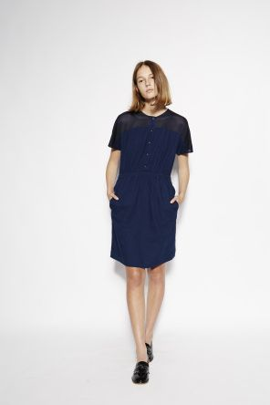 Panelled Shirt Dress in Indigo Mesh  Relaxed fit dress with mesh top panelling, indigo button closure and elasticated waist.   100% cotton custom indigo / 100% polyester mesh panelling