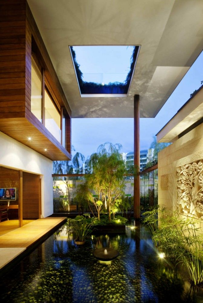 Sky Garden House / Guz Architects: Ponds, Design Homes, Water Gardens, Water Features, Dream House, Meera House, Green Roof, Gardens House, Guz Architects