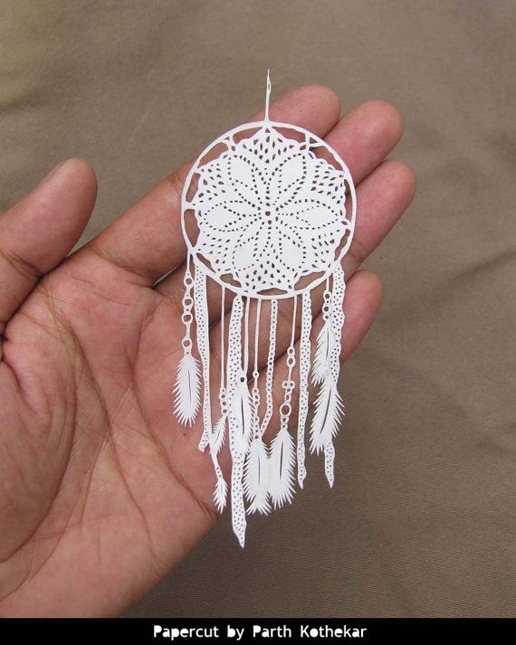 shipping Free - Papercut - Crochet Dreamcatcher - wall hanging - white feathers - handmade - Papercraft - paper cutting - dream catcher -