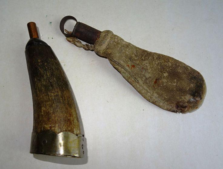 Pulverhorn Jagd Hunter Leder Schwarzpulver Gründer Muskete Gewehr Antler