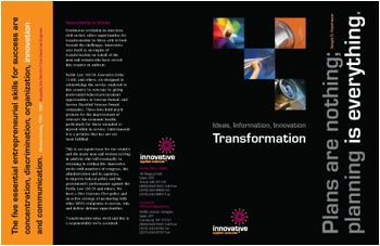 """Gardiner Design had already created the logo, website, and other meterials for Innovative Applied Sciences. They loved the flash intro I'd created for their website, especially the transition from a paper airplane to a jet. As the theme of their corporate brochure was tranformation, I morphed photos, one of a child's game or toy, with one showing it's modern technological """"offspring""""."""