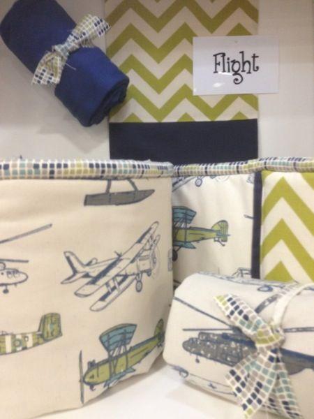 Navy Blue and Green Chevron Baby Boy Nursery Bedding