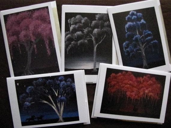 Set of 5 Weeping Tree Surreal Art Greeting Cards by ArtByKatieK, $15.00