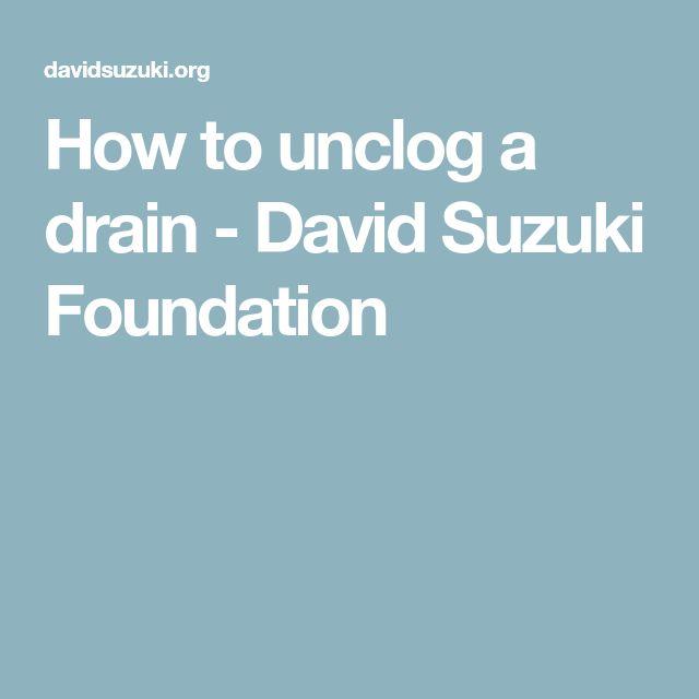 How to unclog a drain - David Suzuki Foundation