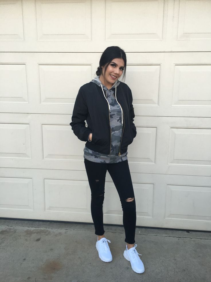 Black bomber jacket with camo sweater black ripped jeans and white huaraches Instagram   @Lynnetteeaa