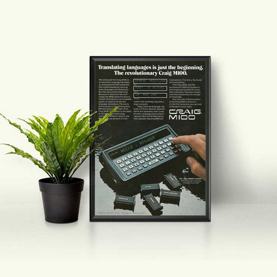 Hand Held Computer  Retro Nerdy Translator Advert  Old Technology Ad  Craig M100 Language Translator  Memory Chip EEPROM Learning Tool by RetroPapers