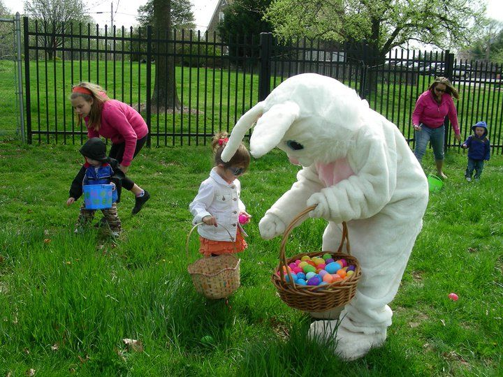 Easter Bunny helping kids find eggs!