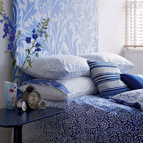 Lovely blue and white bedroom