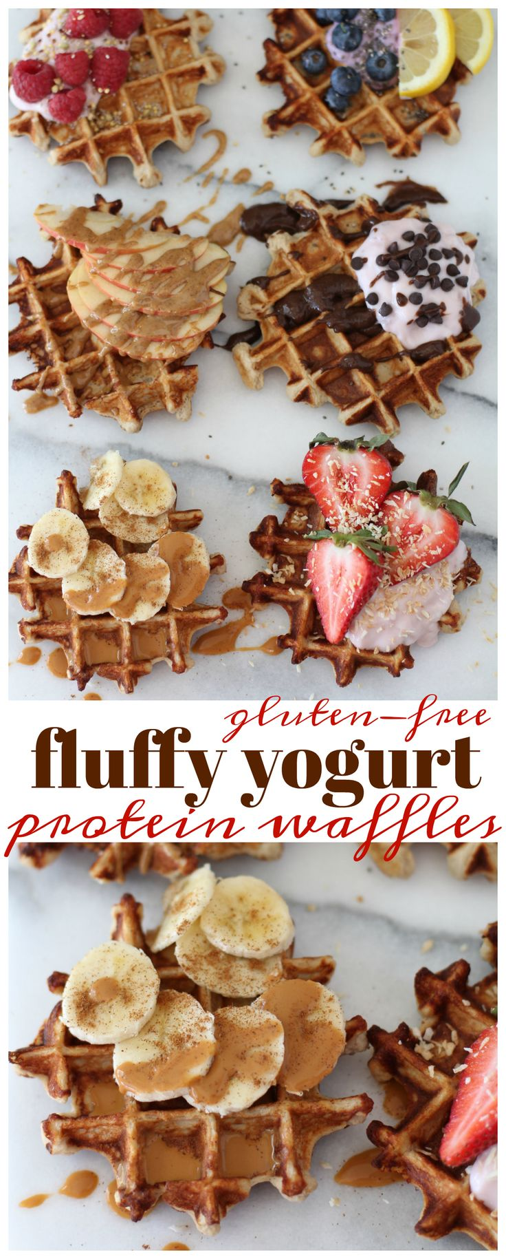 The best-ever fluffy yogurt protein waffles require just 4 ingredients, 10 minutes and 1 bowl. They are perfectly thick, soft, sweet and packed with nutritional benefits. {ad}