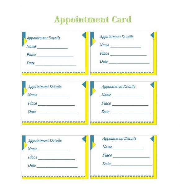 Samples Of Medical Appointment Card Template Free In 2021 Card Template Appointment Cards Free Printable Card Templates