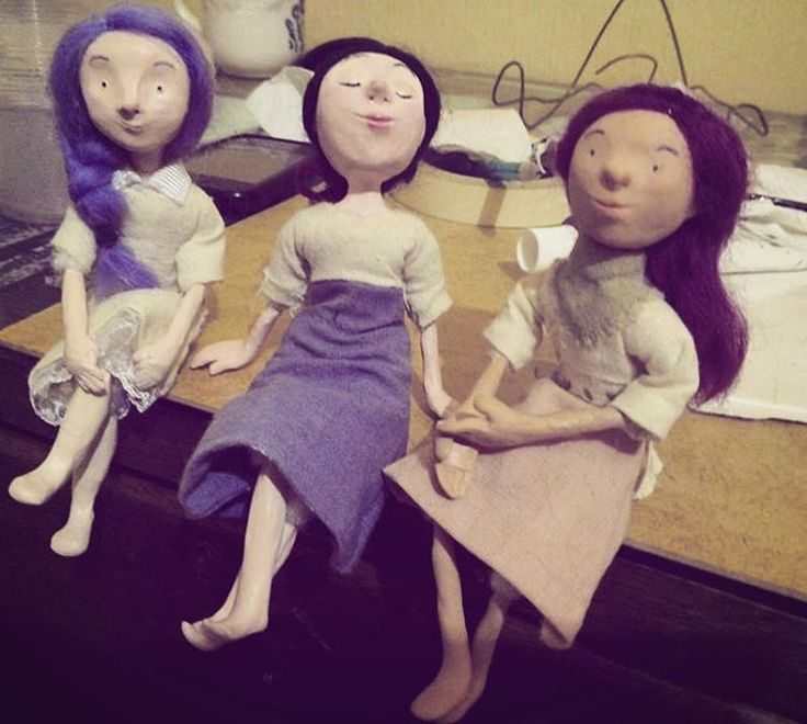 Three #clay #ladies having a good time. #softie #body #doll #handmade #craft #toy #art #canellacrafts