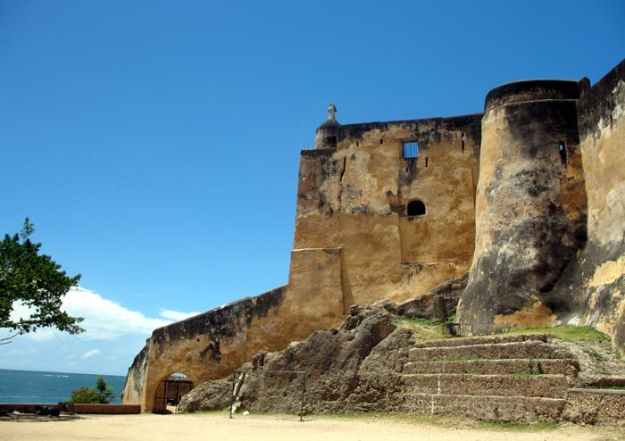 Fort Jesus, Kenya - Fort Jesus is a Portuguese fort built from 1593 to 1596 on Mombasa Island to guard the old port of Mombasa, Kenya. The site's layout follows the Renaissance ideal that the human body is perfectly proportionate.