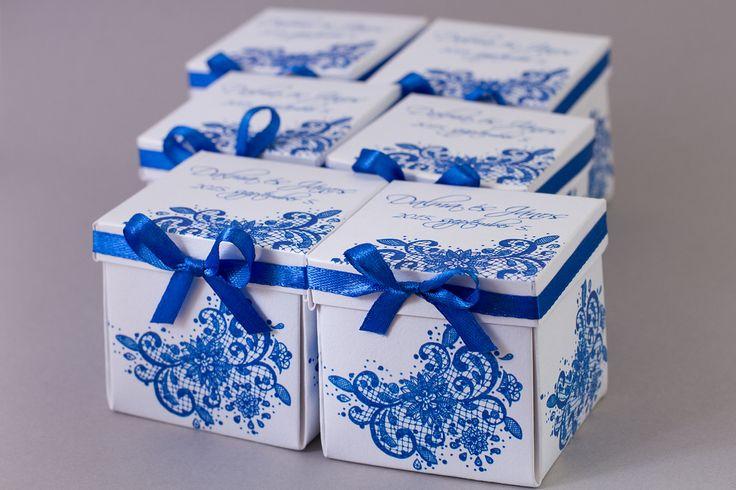 Kék csipkés dobozos esküvői meghívó _ blue lace box wedding invitations