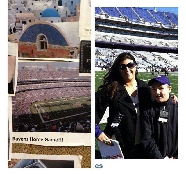 One of my biggest manifestations from my original 2009 #VisionBoard taking my son to a #Ravens home football game in 2011. But even better getting sideline passes and meeting Michael Oher! Dreams really do come true. #HustleBelieveReceive