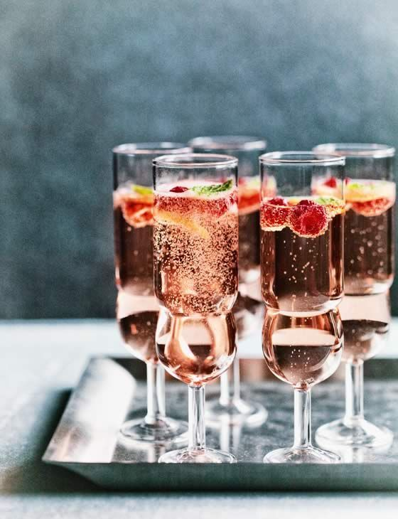 rosé, raspberry and mint fizz.