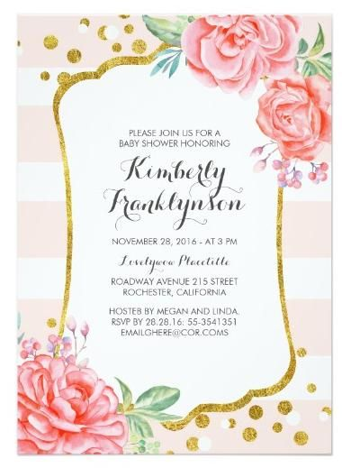 d96cc511f Pink stripes and flowers gold confetti dots vintage baby shower invitations.  Make custom invitations and announcements for every special occasion!