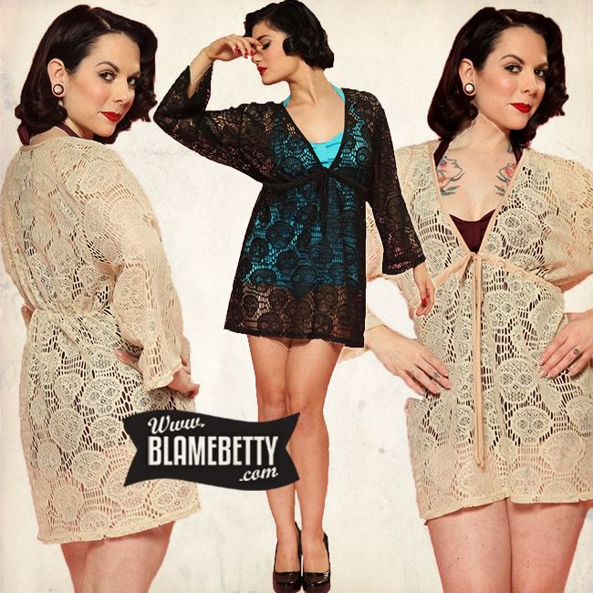 Hit the beach in rad rockabilly style with the Skull Lace Cover up! This cover up features a skull lace pattern and is made out of a soft polyester fabric. The bell sleeves and empire waist are very flattering and will have you look fab poolside. This top hits mid-thigh and covers the bum perfectly! #blamebetty