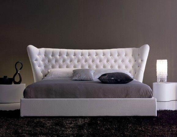 Nella Vetrina Andy AND03 Italian Designer White Fabric Bed