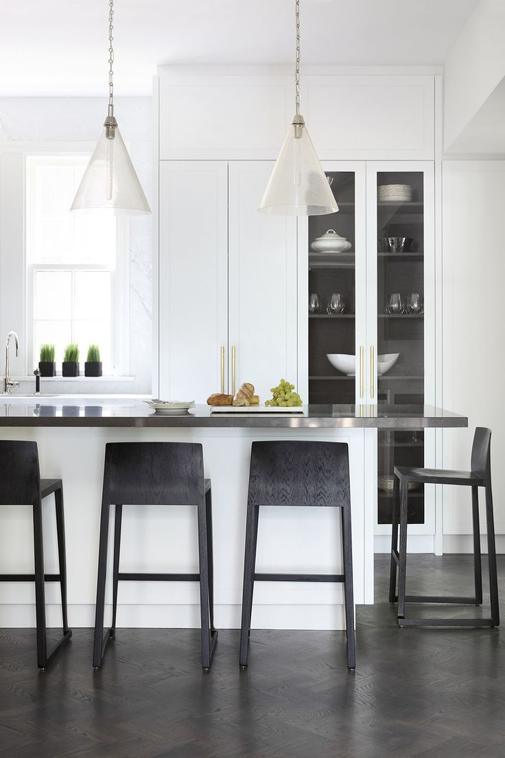 White Kitchen, glass cabinet doors with contrasting interior cabinet for depth | Alisa Rose Design