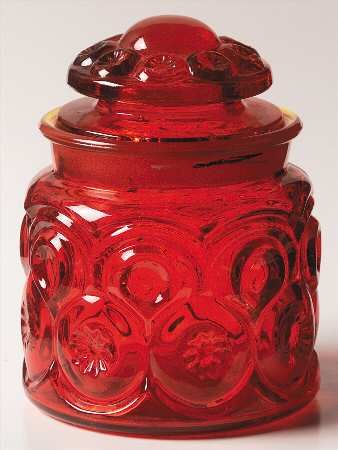 Smith Glass Moon and Stars Red Tea Canister