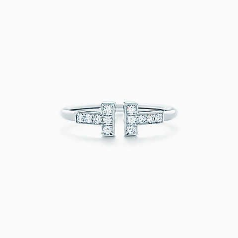 Tiffany T wire ring in 18k white gold with diamonds.