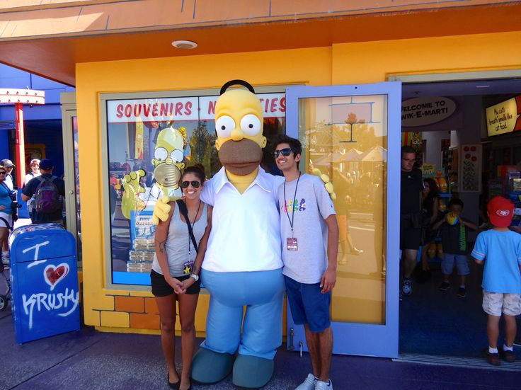 """San Fransisco and LA with my family and boyfriend.  2014 - here in universal studios, my brother and me with """"Homer Simpson""""  We had so much fun"""