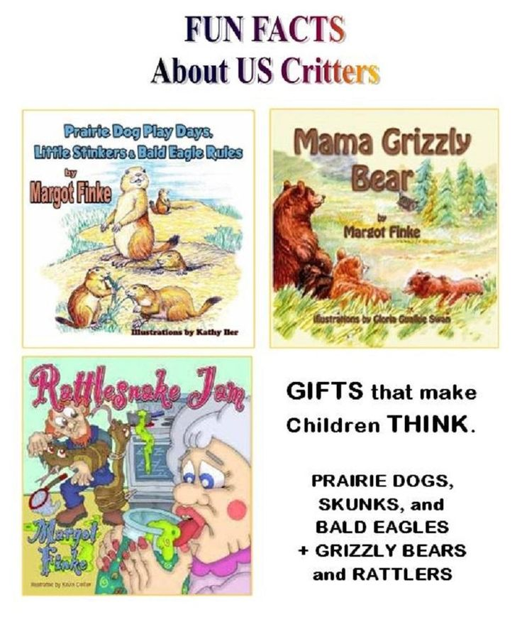 WHEN I CAME ACROSS THESE FANTASTIC US ANIMALS for MYSELF, I decided kids everywhere needed to learn about them. They all ROAM FREE IN THESE 3x BOOKS—from Grizzlies and Rattlesnakes, to Prairie Dogs, Skunks, and the mighty BALD EAGLE! Fun FACTS are hidden in every verse. (Amazon + Autographed)  http://www.margotfinke.com  + Free Skype Author Visits.