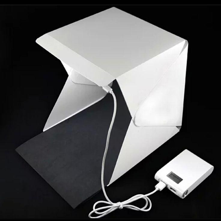 Mini Folding Studio    portable photography studio Mini foldable softbox with USB LED light  Desktop black white backgound soft