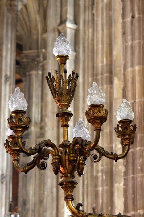 Chandeliers inside the stunning  L'Eglise Saint-Eustache built in the mid 1500's of Gothic style It was chosen by Mozart for the funeral service of his Mother Anna-Maria and Moliere was both baptised and married here.