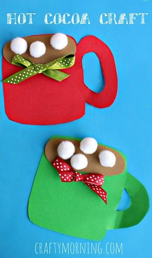 Pom Pom Hot Cocoa Mug Craft #Christmas craft for kids #Winter art project | CraftyMorning.com