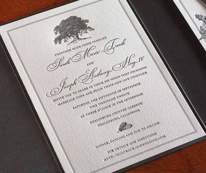 oak letterpress wedding invitation by invitations by ajalon