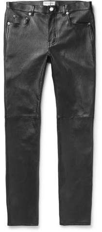 Saint Laurent Skinny-Fit Leather Trousers. When Mr Lenny Kravitz took his seat on Saint Laurent 's front row alongside British VOGUE 's new Editor-in-Chief Mr Edward Enninful, he was wearing the brand's leather trousers. This pair is backed in stretch-cotton so they slip on comfortably, and has seams across the knees so that there's that bit more structure where it's most needed.